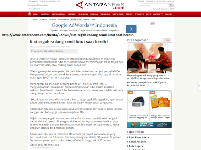 Antara News-Kiat cegah radang sendi lutut saat berdiri - ANTARA News