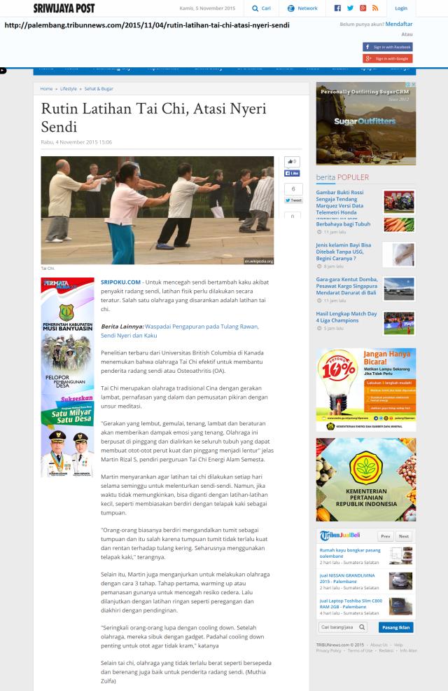 Sriwijaya Post-Rutin Latihan Tai Chi, Atasi Nyeri Sendi - Sriwijaya Post