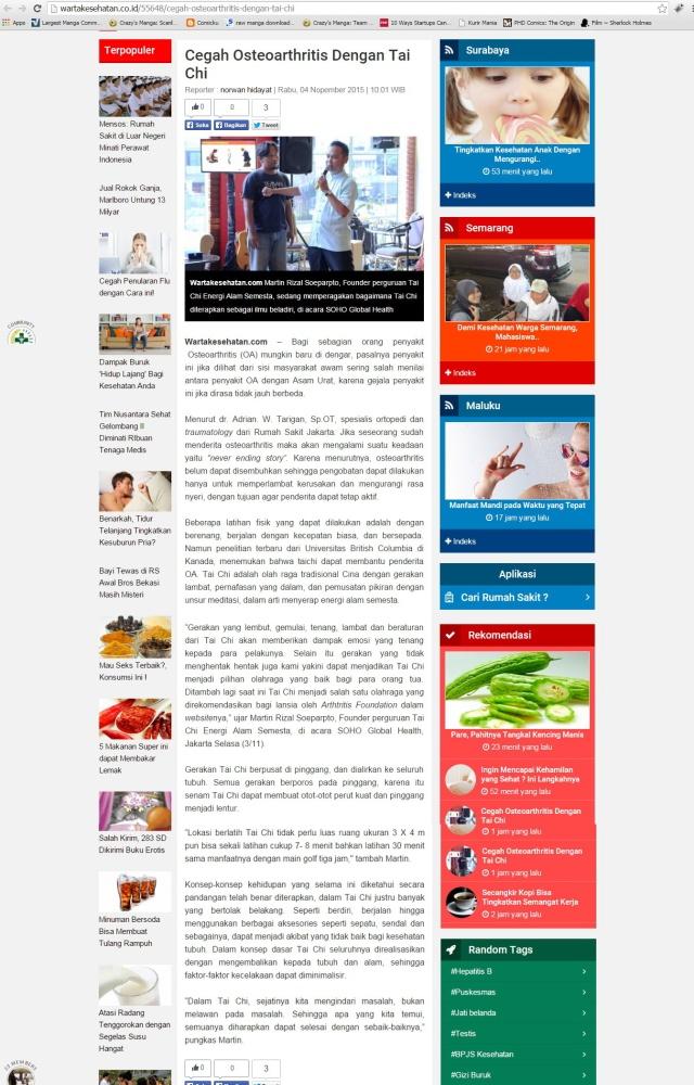 Warta Kesehatan-Cegah Osteoarthritis Dengan Tai Chi
